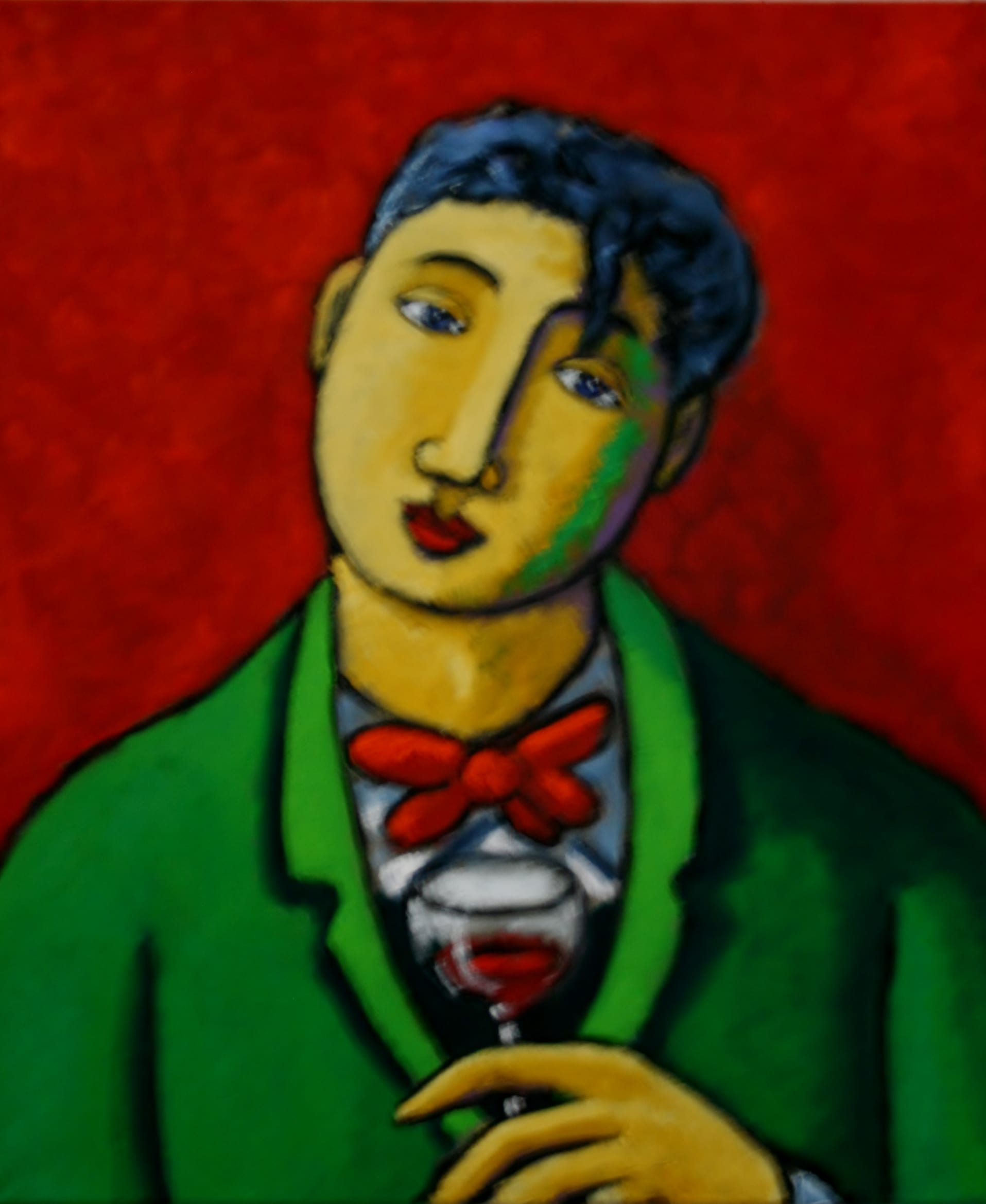 Green coat red wine blue artist 50x60cm