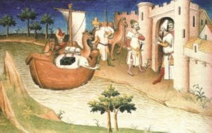 """Marco Polo travelling, Miniature from the Book """"The Travels of Marco Polo"""" (""""Il milione""""), originally published during Polos lifetime(September 15, 1254 - January 8, 1324), but frequently reprinted and translated."""