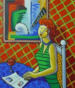 Woman with abstract painting By Jacques Tange