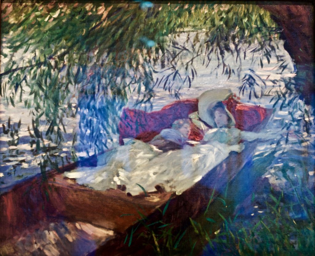 By Pedro Ribeiro Simões from Lisboa, Portugal - Lady and Child asleep in a punter under the willows (1887) - John Singer Sargent. (Alla prima painting)