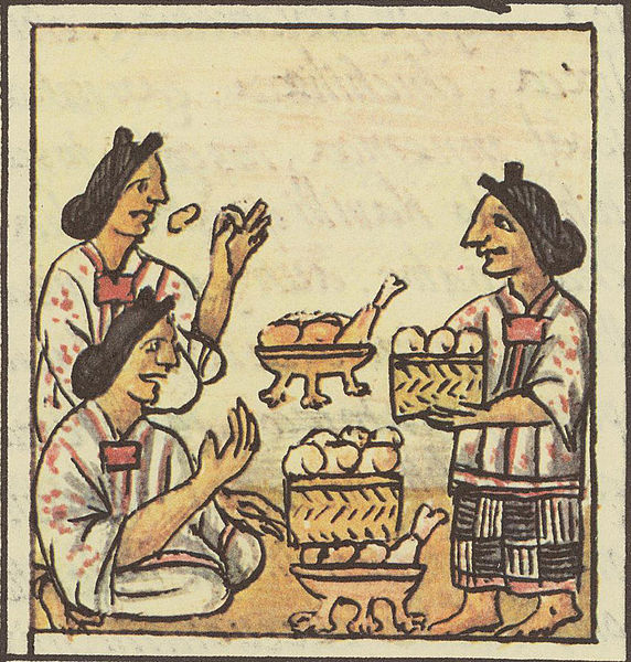 Tianguis azteca. Imagen vía wikimedia commons