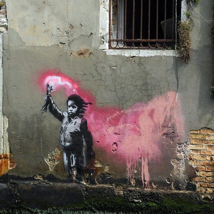 Obra de Banksy en Venecia. By Gorup de Besanez - Own work, CC BY-SA 4.0, https://commons.wikimedia.org/w/index.php?curid=80081957