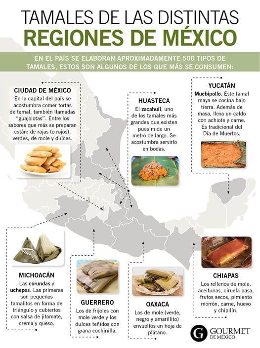 Tamales de México por región. imagen de Gourmet de México vía redit