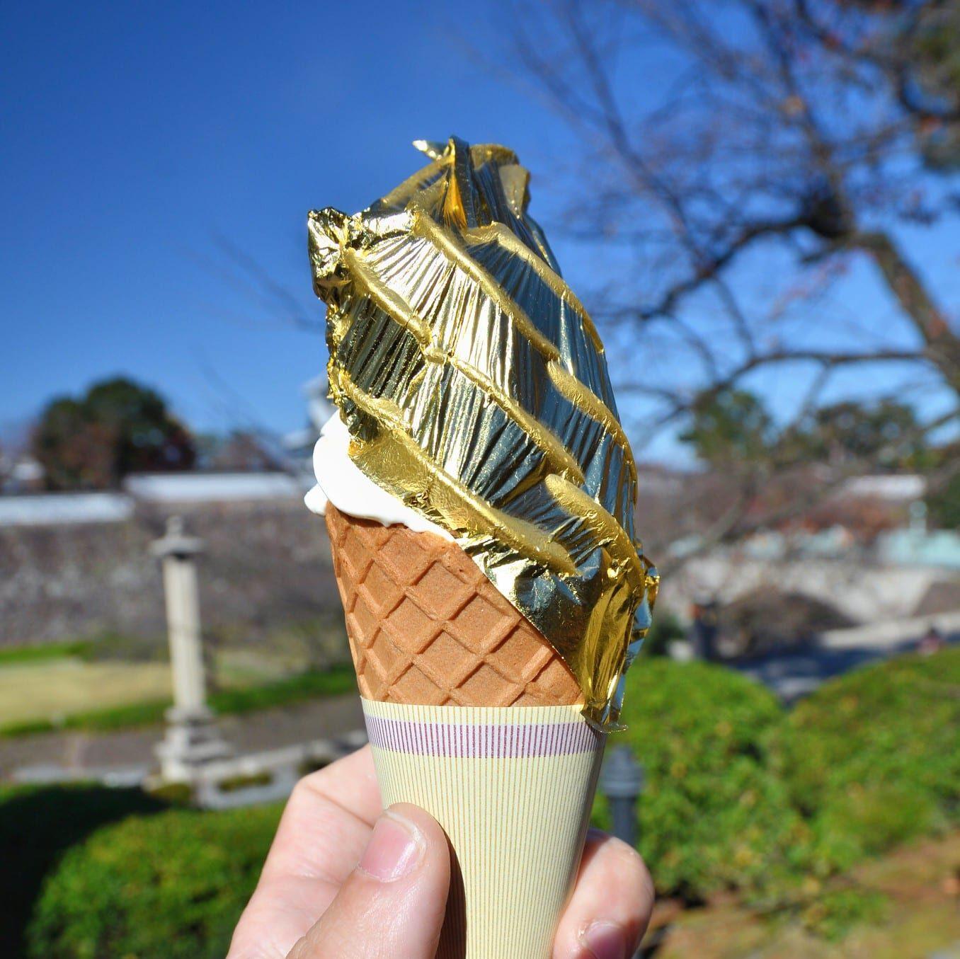 Helado con hoja de oro en Japón, Imagen vía Flickr