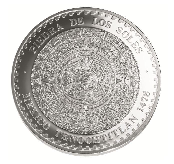 """Moneda """"Piedra de los soles"""". Imagen del catálogo de la Casa de Moneda de México."""